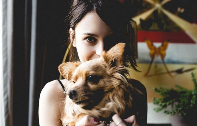 Alexandra with her dog