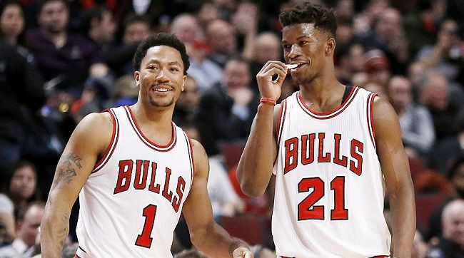 Jimmy with Derrick Rose