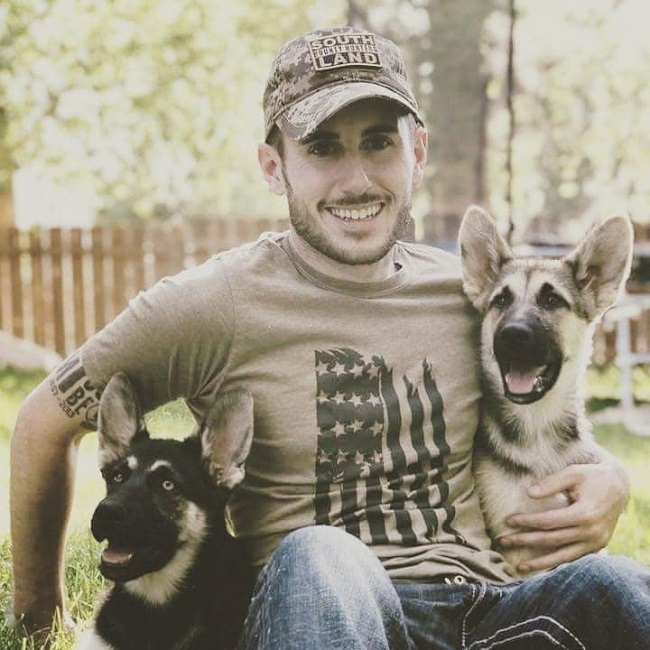 Patty Mayo with his Puppies