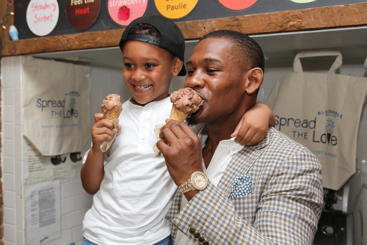 Daniel Jacobs with his son