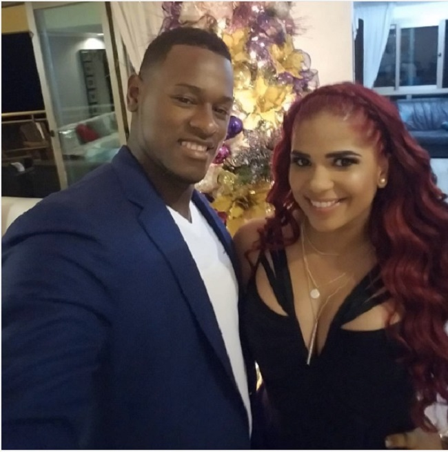 Luis Severino with his wife